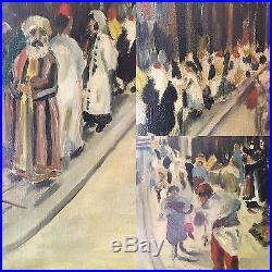 Antique Arab & Turkish Middle Eastern Street Scene Oil Painting Signed