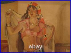 Antique Arabian Nights Middle East Arts Crafts Deco Hookah Liquor Painting