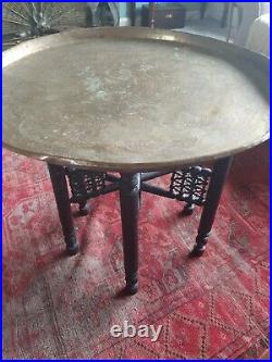 Antique Benares Table Aged With distressed Ebonised Legs brass islamic tray top