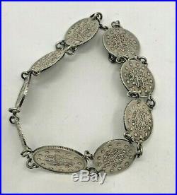 Antique Bracelet Ottoman Islamic Silver Coins 1923 Rare