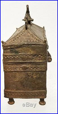 Antique Cast Brass or Bronze African Benin Style Middle Eastern Lock Box
