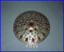 Antique Central Asia GREAT HIGH AGED TURKMEN TURKOMAN GILT SILVER JEWELRY DISC