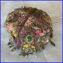 Antique Central Asian kelim woven ceremonial hat covered traditional jewelry