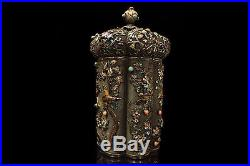Antique Chinese Export Filigree Gilt Silver And Enamel Tea Caddy Box