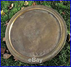 Antique Completely Etched Ornate Brass Eastern Persian Tea Table Tray Stunning