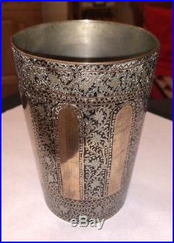 Antique Copper Silver Inlay Overlay Islamic Indian Bidri Bidriware Beaker Cup