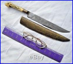 Antique Dagger Knife Bichak from Bosnia Not Shamshir Sword Damascus Wootz 1900's