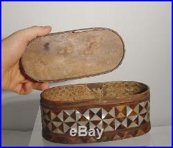 Antique Early Inlaid MIddle Eastern Ottoman Syrian Wood Box Mother of Pearl