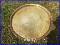 Antique Egyptian Engraved Brass Tray Table & Wooden Folding Base 57cm Diameter
