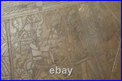 Antique Egyptian Middle Eastern Copper Brass Metal Serving Tray Engraved Figures