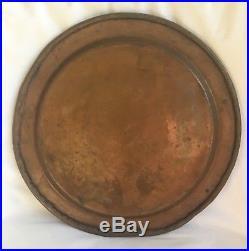 Antique Enameled Copper Plate 19th Century Islamic Syria Damascus Cuerda Seca