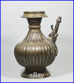 Antique Engraved Bronze Mughal India Ewer Water Pot Elephant 17/18th C