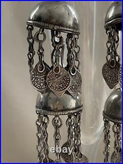 Antique Ersari Tekke Turkoman Afghan Silver Tribal dangle Earrings 19th Century