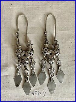 Antique Ersari Tekke Turkoman Turkmen Silver Tribal dangle Earrings 19th Century