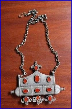 Antique Ethnic Silver Tumar Pendant & Chain Turkoman Ersari