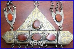 Antique Ethnic Silver Tumar Pendant & Chain Turkoman Tekke Tribe