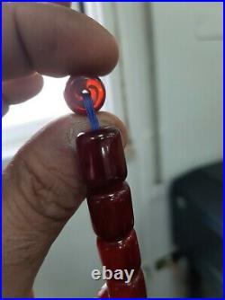 Antique Genuine faturan cherry amber prayer bead tasbih 62g