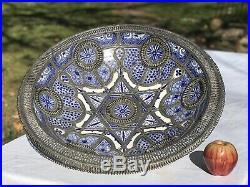 Antique HUGE Center Piece Pottery Bowl Metal Work Middle Eastern Moroccan Blue