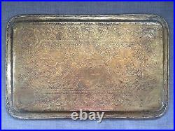 Antique Hand Chased Large Brass Tray Persian Middle Eastern