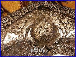 Antique Handmade Persian Esfahan Silver Octagonal Dish