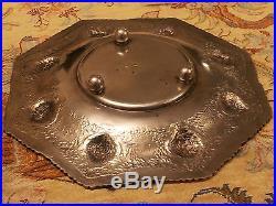 Antique Handmade Persian Silver Octagonal Dish