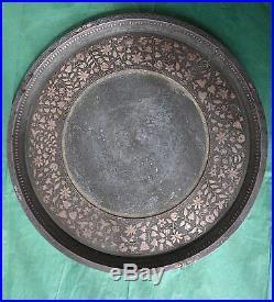 Antique Heavy Hookah Stand & Tray Indo Islamic Mughal Bidri Silver Inlay