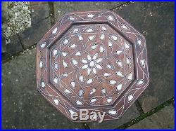 Antique Hexagonal Islamic Inlaid Wooden Side Table
