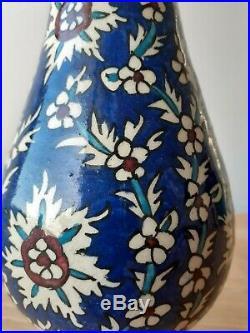 Antique IZNIK blue Vase Pottery Ottoman Turkish Mughal Persian islamic