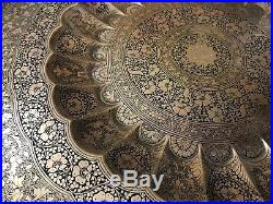 Antique Indian Arabic Eastern Islamic Copper Niello Table Benares Carved Wood