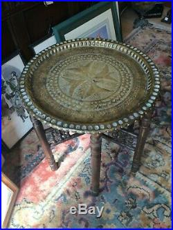 Antique Indian Brass Tray Top Folding Table