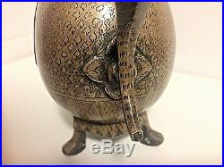 Antique Indian Mughal Bronze Chased Large Ewer