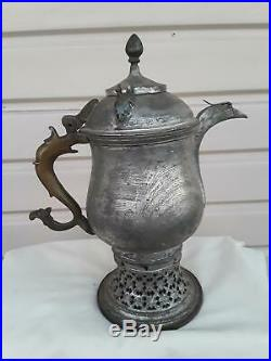 Antique Indo-Persian Copper Samovar Travel Tea Kettle Islamic Bedouin Hooka Prop