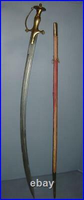 Antique Indo Persian Shamshir Tulwar Sword & Scabbard Disc-Hilt knucklebow C1800