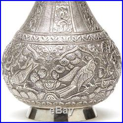 Antique Indo-middle Eastern Silver Rose Water Bottle C. 1900