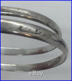 Antique Iraqi Middle Eastern Sterling Silver & Niello Snake Coil Bracelet