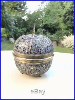 Antique Islamic Arabic Cloisonné Enamel Solid Silver Bowl Form Of Lidded Apple