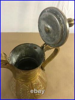 Antique Islamic Arabic Oman Persian Brass Coffee Pot Dallah Unique C13