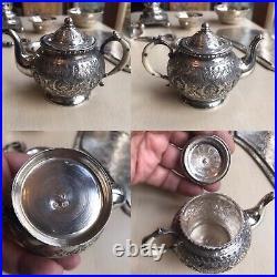 Antique Islamic Arabic Russian Solid Silver Miniature Samavar Bowl Teapot Tray