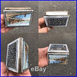 Antique Islamic Arabic Tuorkish Enamel Solid Silver Cigarette Case Or Box