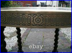 Antique Islamic Barley Twist Folding Side Table With Brass Covered Top