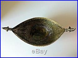 Antique Islamic Brass Open Work Engraved Chased Kashkul