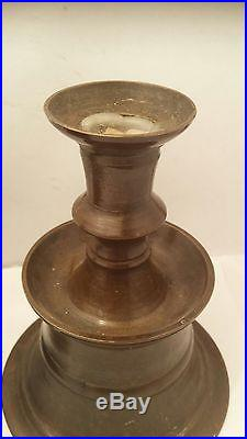 Antique Islamic Bronze Candlestick Candel Bra Ottoman Turkish PAIR