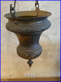 Antique Islamic Bronze Hanging Oil Lamp