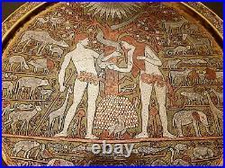 Antique Islamic Damascus Mamluk Persian Silver Copper Inlaid Brass Adam/eve Tray