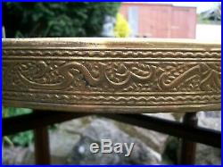Antique Islamic Folding Side Table With Brass Covered Top Brand