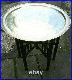 Antique Islamic Folding Side Table With Brass Tray Top