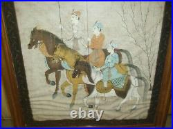 Antique Islamic Hand Painted Water Colour On The Canvas Mughal Princes C. 1900