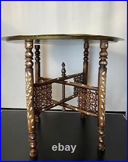 Antique Islamic Inlaid Folding Side Table with Brass Tray Top