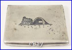 Antique Islamic Iraqi Silver Niello Tobacco Box and Napkin Ring