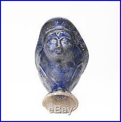 Antique Islamic Kashan Harpy / Siren Glazed Pottery Libation Cup